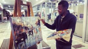 Petros paintin the rainy street scene