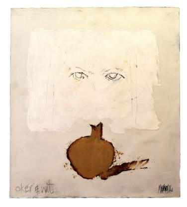Oker en wit 2014 56x50 Oil on paper