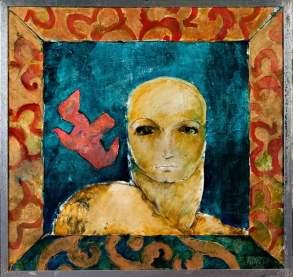 Portret en pienk duif 2005 75x76 Oil on board