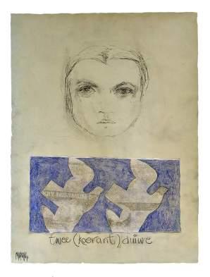 Twee (koerant) Duiwe 2014 76x56 Charcoal/Oil on paper