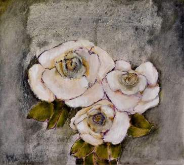 Wit rose 2016 50x55 Oil on board