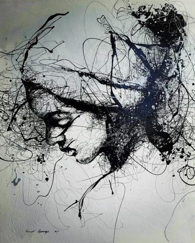SOLD Reflection VI - Enamel on canvas
